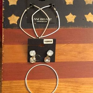 2 Pairs of Earrings and a Silver Tone Bracelet